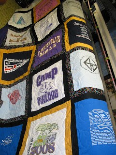 Male High School t-shirt quilt, quilted by Angela Huffman