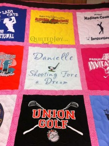 embroidery center block tshirt quilt