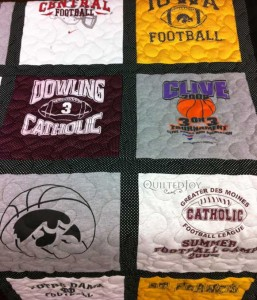 T-shirt quilt blocks football