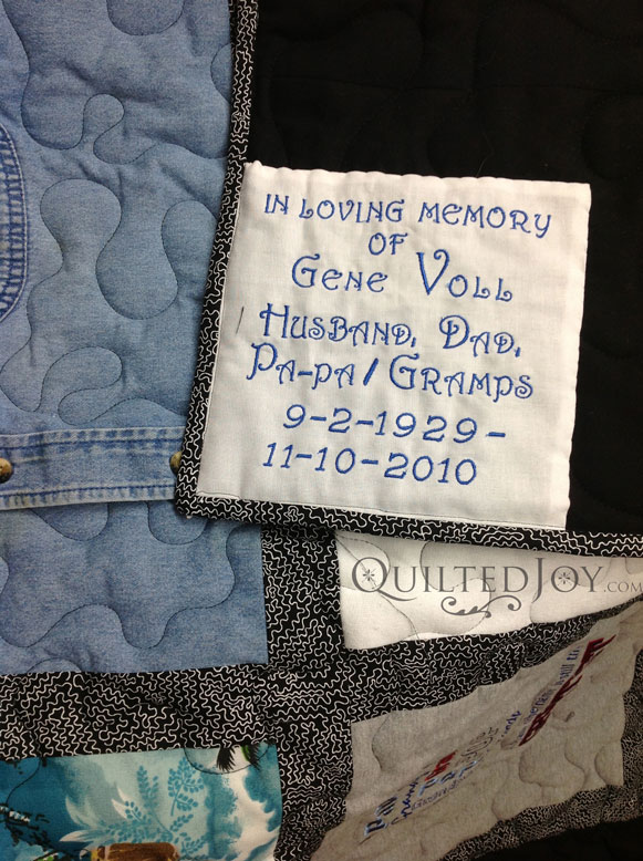 Label for memorial quilt