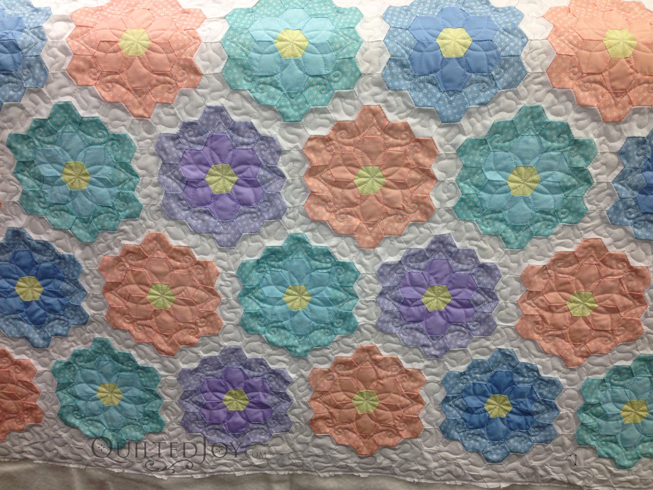 Grandmother's Flower Garden Quilted