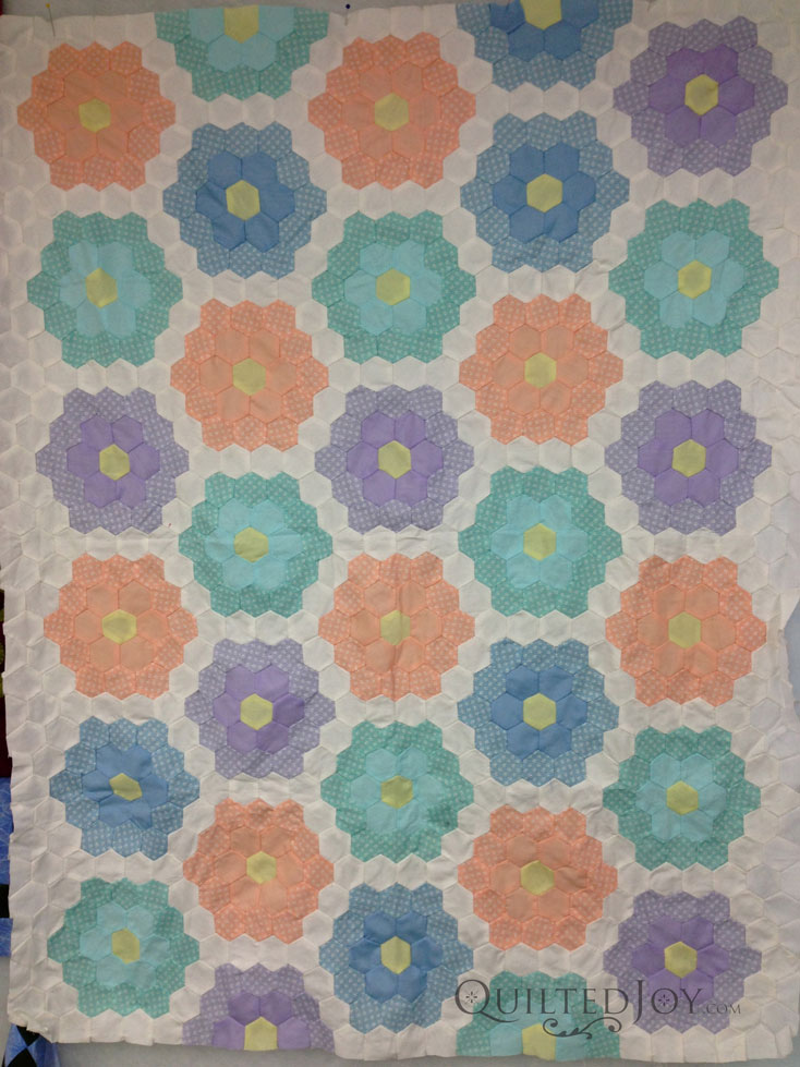 Grandmother's Flower Garden Quilt top