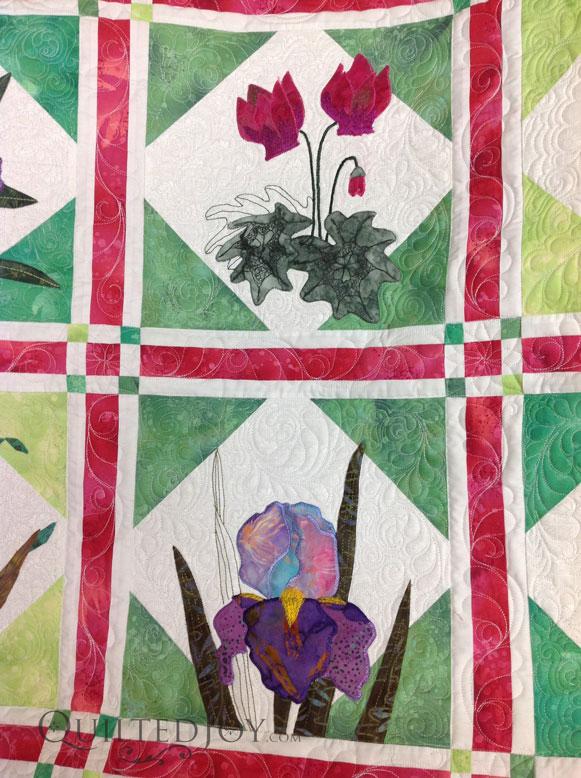 feather sashing quilt longarm