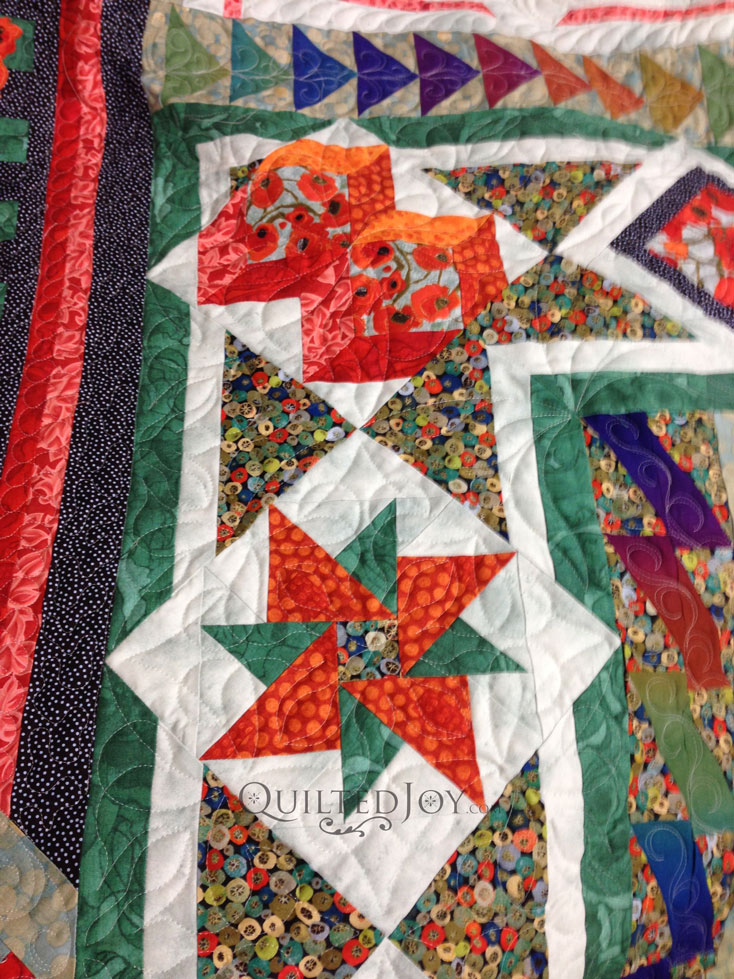 Pinwheel quilt block long arm