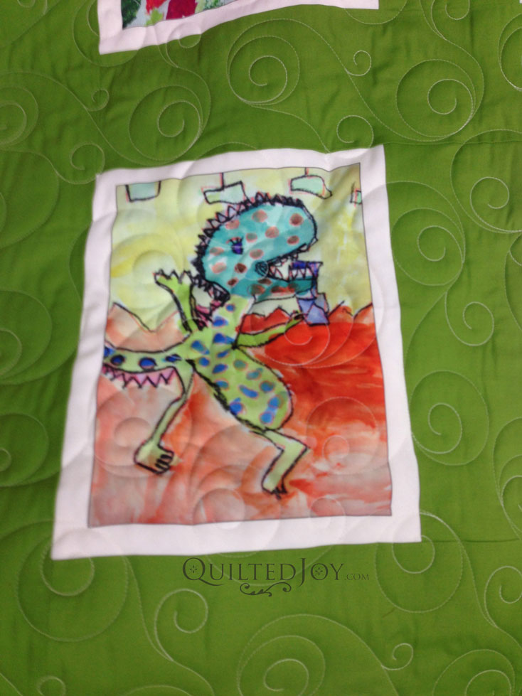 Kid art quilt longarm