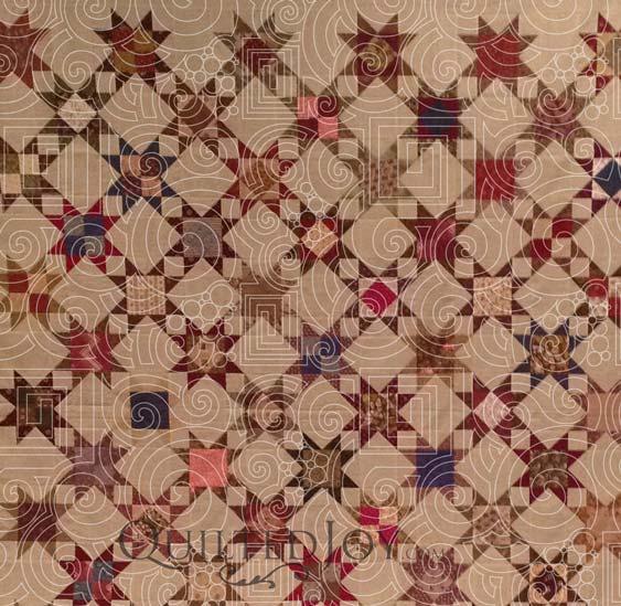 modern pantograph on civil war quilt