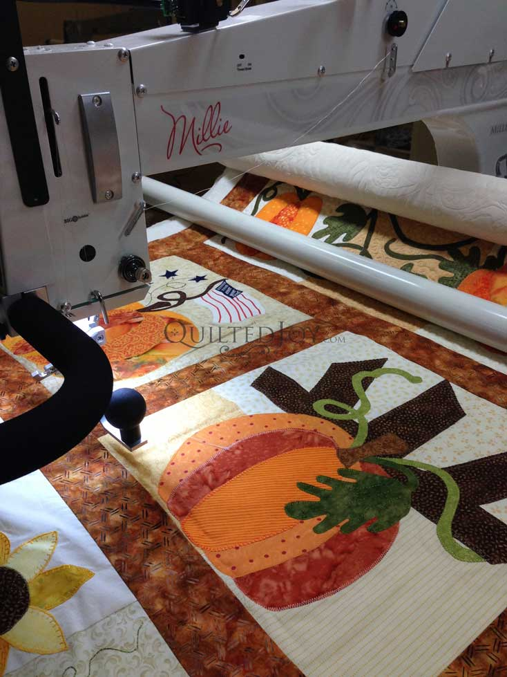 pumpkin applique block of the month quilt