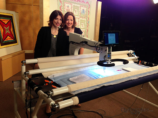 Angela with Mary Fons on the set of Love of Quilting