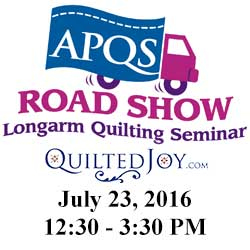 APQS Road Show at Quilted Joy on July 23, 2016, 12:30-3:30pm