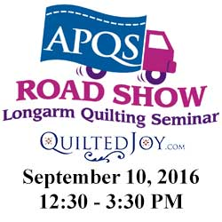 APQS Road Show at Quilted Joy on Sept. 10, 2016, 12:30-3:30pm