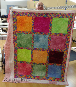 Bill hand dyed the blocks in his quilt.