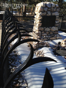 The fence around Buffalo Bill's grave has a really interesting look that would work great as a border or feather design.