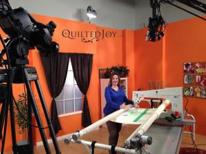 Angela in studio for a Fons & Porter online class.
