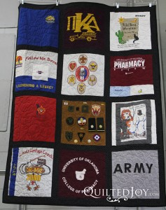 T-Shirt Quilt Angela made for her dad, QuiltedJoy.com