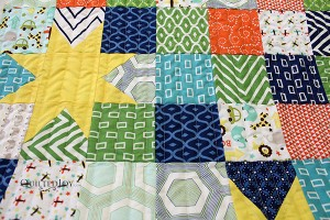 Floating Stars Baby Quilt, quilted by Angela Huffman