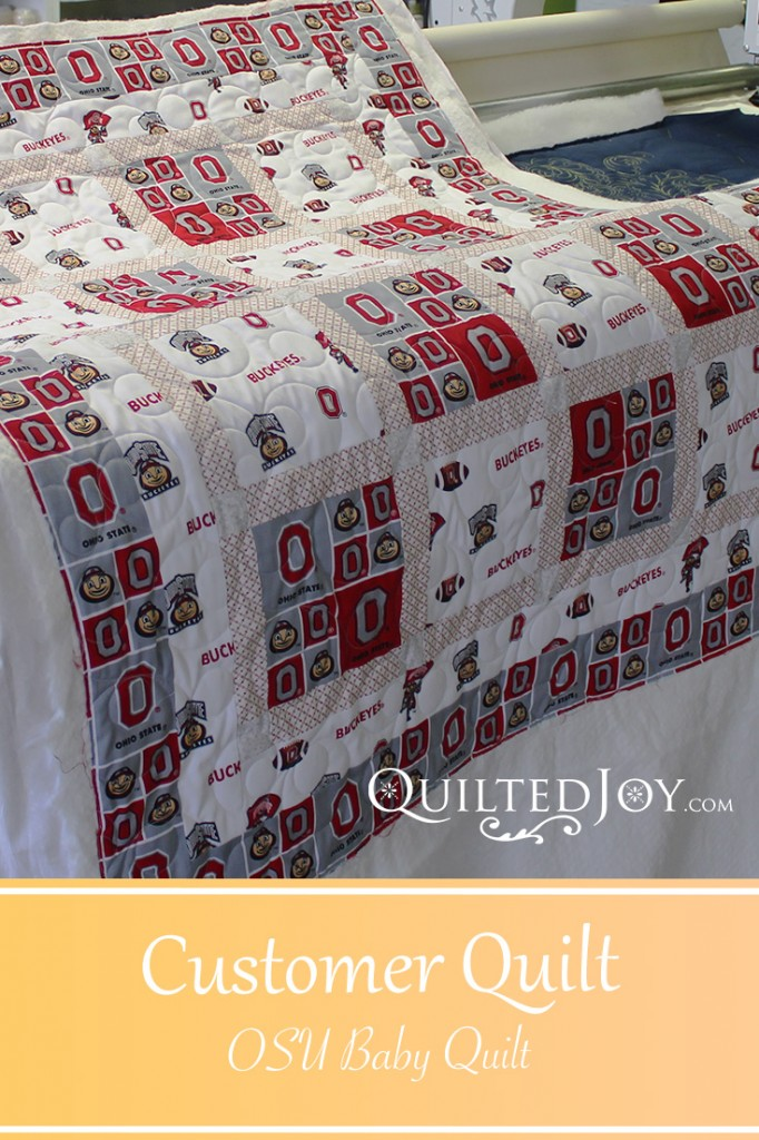 OSU Baby Quilt quilted by Angela Huffman, Quilted Joy