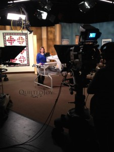 Angela on the set of Love of Quilting