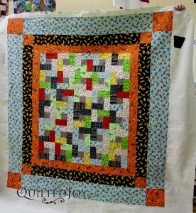 Sock Monkey quilt finished at Quilted Joy