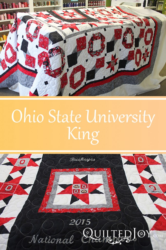 OSU King Quilt, quilted by Angela Huffman