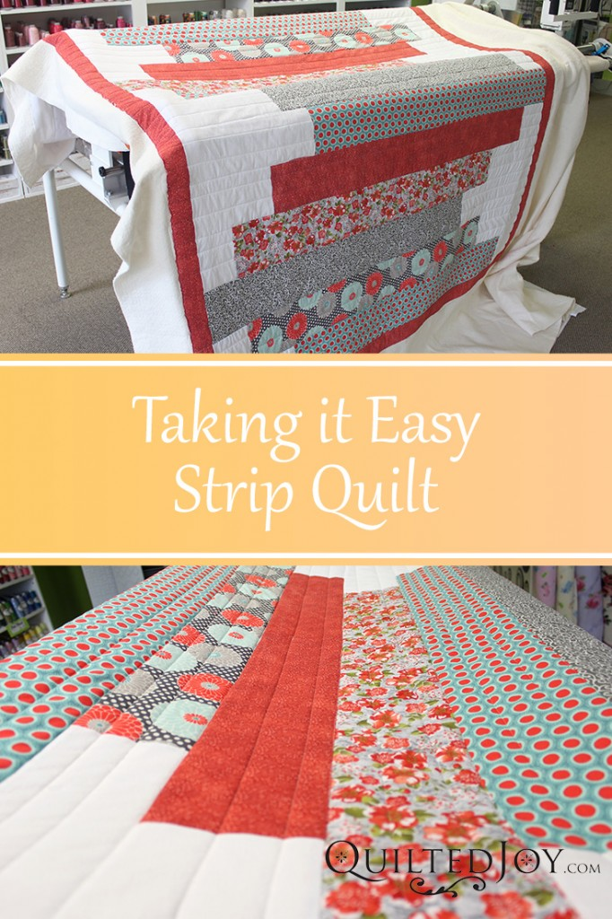 Taking it Easy Strip Quilt, quilted by Angela Huffman