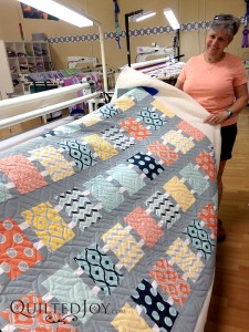Colleen's modern squares quilt for her nephew's wedding gift