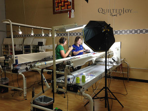 Angela filming new APQS video tutorials - QuiltedJoy.com