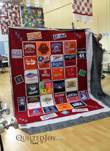 Veada quilted this T-Shirt Quilt during her rental - QuiltedJoy.com