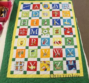 Pam's Dr. Seuss Alphabet Quilt with the double bubble pantograph - QuiltedJoy.com
