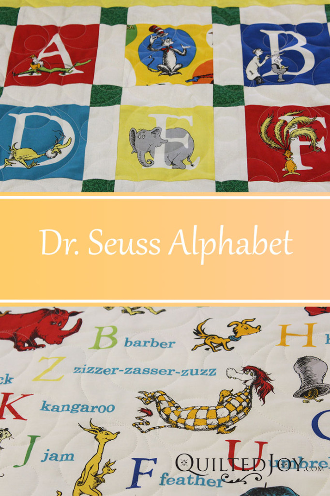 Pam's Dr. Seuss Alphabet Quilt with edge to edge quilting by Angela Huffman - QuiltedJoy.com