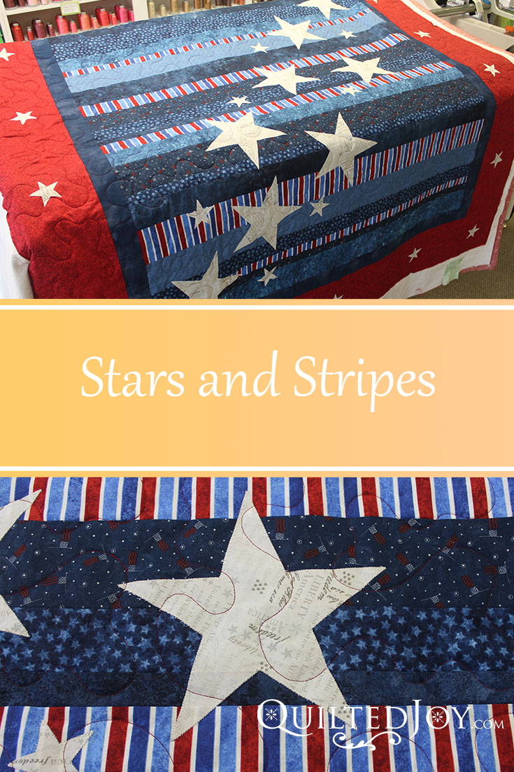 Stars and Stripes with quilting by Angela Huffman - QuiltedJoy.com