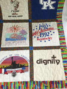 A free motion meander is a great quilting treatment for T-shirt quilts - QuiltedJoy.com