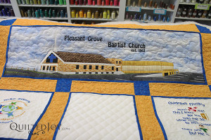 Applique Church with quilting by Angela Huffman - QuiltedJoy.com