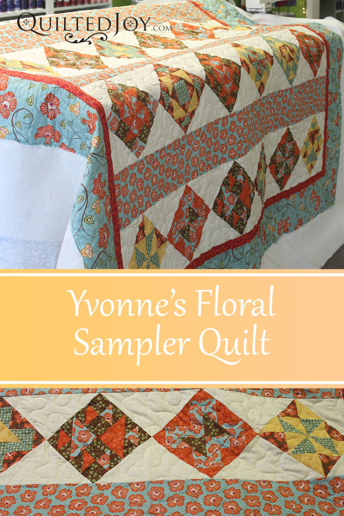 Yvonne's Floral Sampler Quilt, quilting by Angela Huffman - QuiltedJoy.com