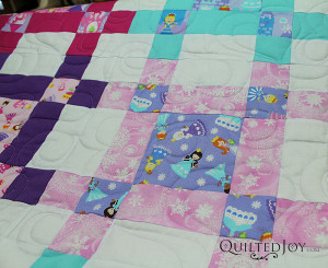 The Heart Fancy Pantograph on a princess quilt for a lucky granddaughter - QuiltedJoy.com