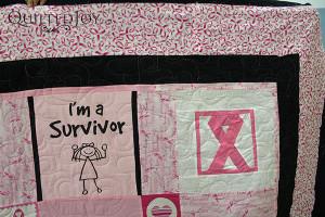 """""""I'm a survivor!"""" shirt on a t-shirt quilt - QuiltedJoy.com"""