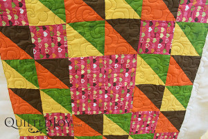 Longarm machine renter Angela took a risk and chose a dark brown thread for this quilt. It creates a lot of contrast and really shows off the quilting. Great job Angela!