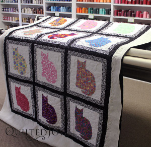 Rosemary appliquéd kitties to this quilt for her granddaughter! Angela added the Daisy Pantograph to give it a nice finishing touch - QuiltedJoy.com