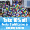 Use code NEWYEAR to get 10% off your next full day longarm rental or rental certification at Quilted Joy when you book before Jan. 31! - QuiltedJoy.com