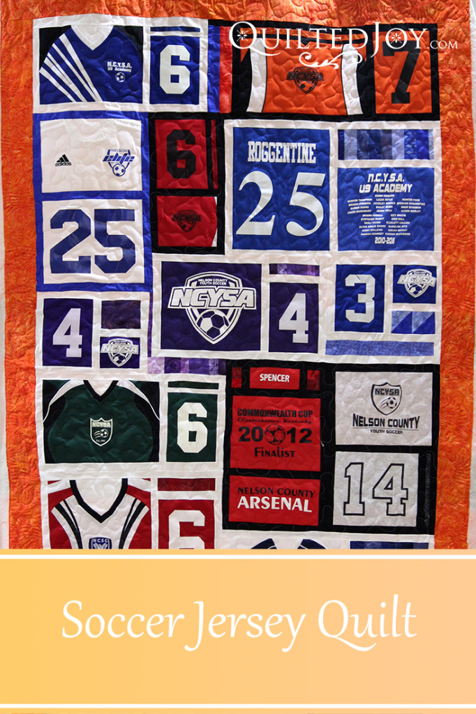 Karee made this soccer jersey quilt for her grandson. Quilter Angela Huffman added a simple meander to finish the quilting. - QuiltedJoy.com