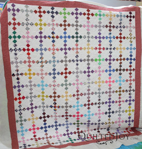 Nine patch block on point with Star Dance pantograph for the quilting design - QuiltedJoy.com
