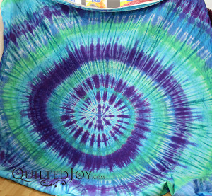 Pat's hand dyed spiral in blues and greens for the back of her quilt. - QuiltedJoy.com