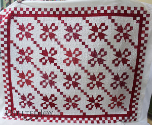 Tammie quilted her Tulips in the Snow quilt on an APQS longarm at Quilted Joy