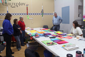 Everyone praises each other's fabrics at the Dip, Dye, and Dabble Day Camp