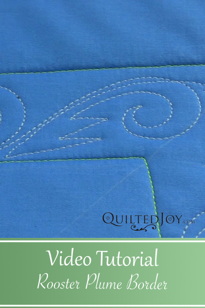 Quilter Angela Huffman demonstrates the Rooster Plume border, a fun and masculine quilting design.