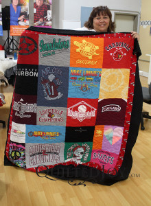 Renee interfaced and quilted this t-shirt quilt at Quilted Joy!