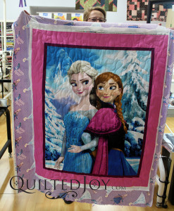 Vivian quilted this Frozen novelty panel quilt for a friend.