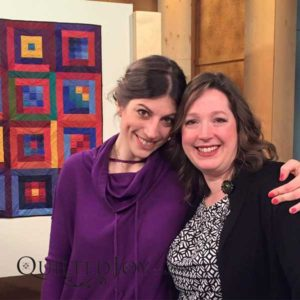 Angela Huffman and Mary Fons on the set of Fons & Porter's Love of Quilting