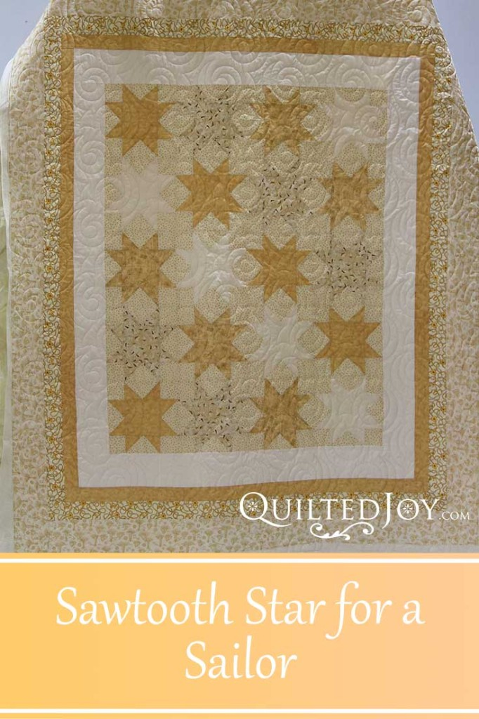 Lyvonn made this Sawtooth Star quilt with a nautical theme for her US Navy sailor son. Longarm quilter Angela Huffman quilted with the Turbulance pantograph.