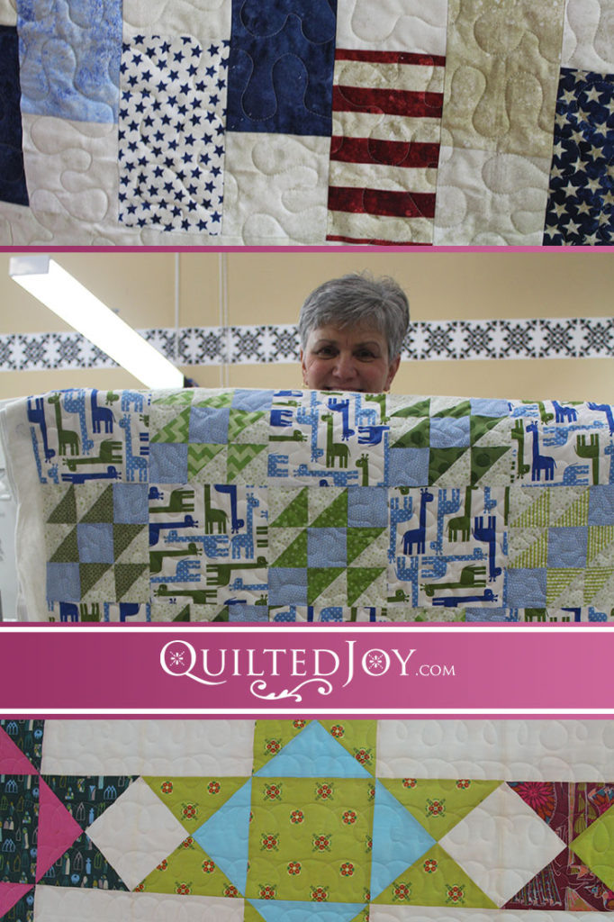 In the latest post about Quilted Joy's renters, we see some ladies who keep their quilting simple to let the piecing shine