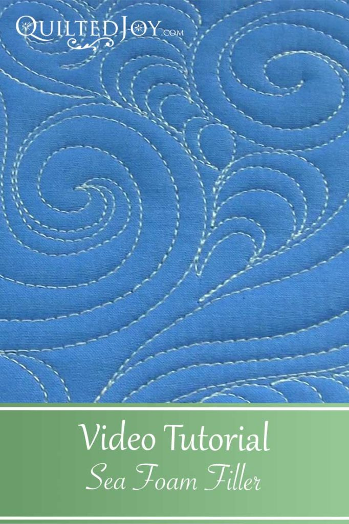 Video Tutorial for the Sea Foam Filler quilting design. This quilting design looks like moving water and would be at home on many landscape quilts